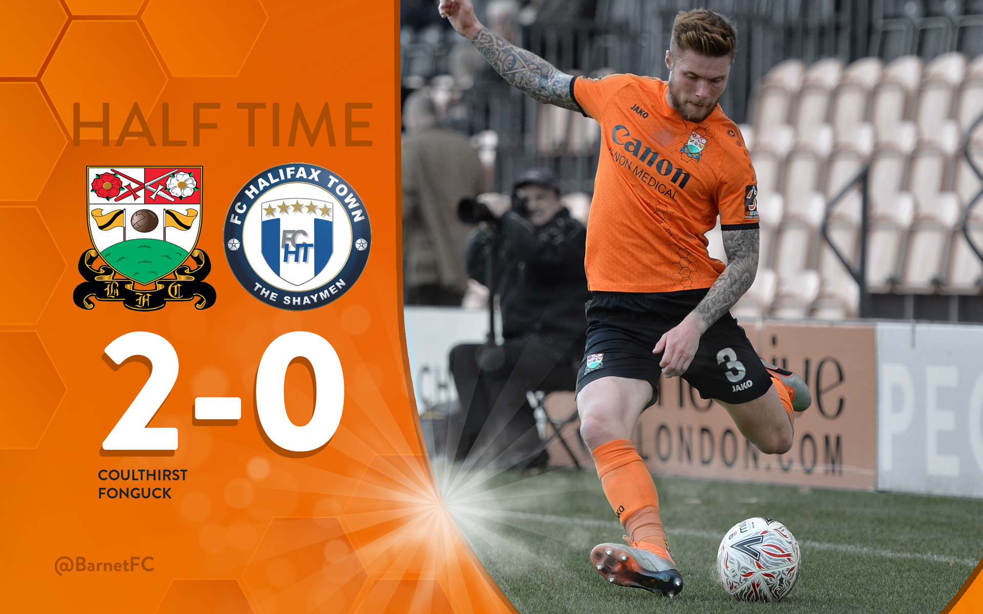 Barnet FC Half Time Score Graphic For Social Media