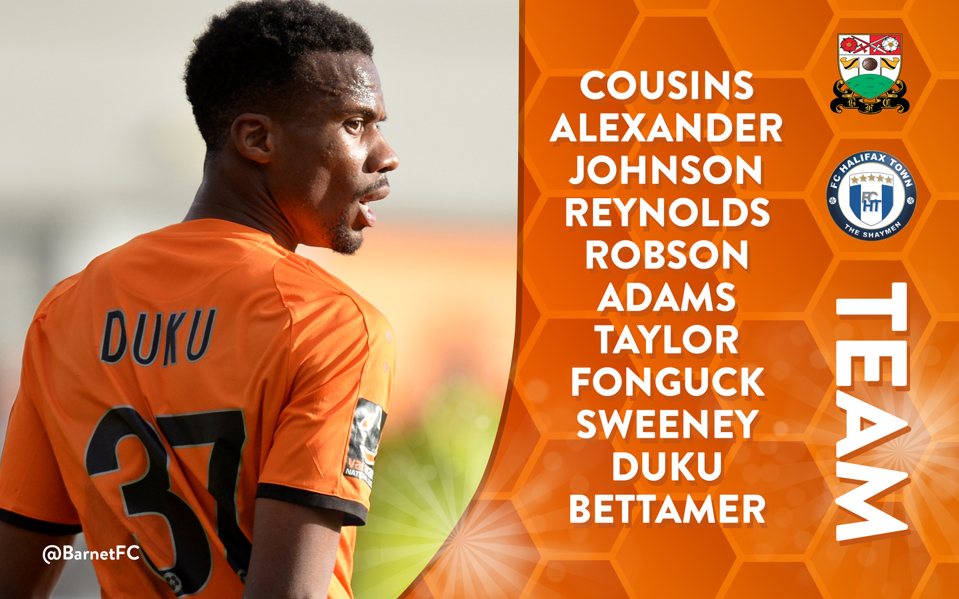 Barnet FC Starting Line Up Graphic For Social Media